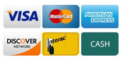 We accept Credit Cards, Debit and Visa